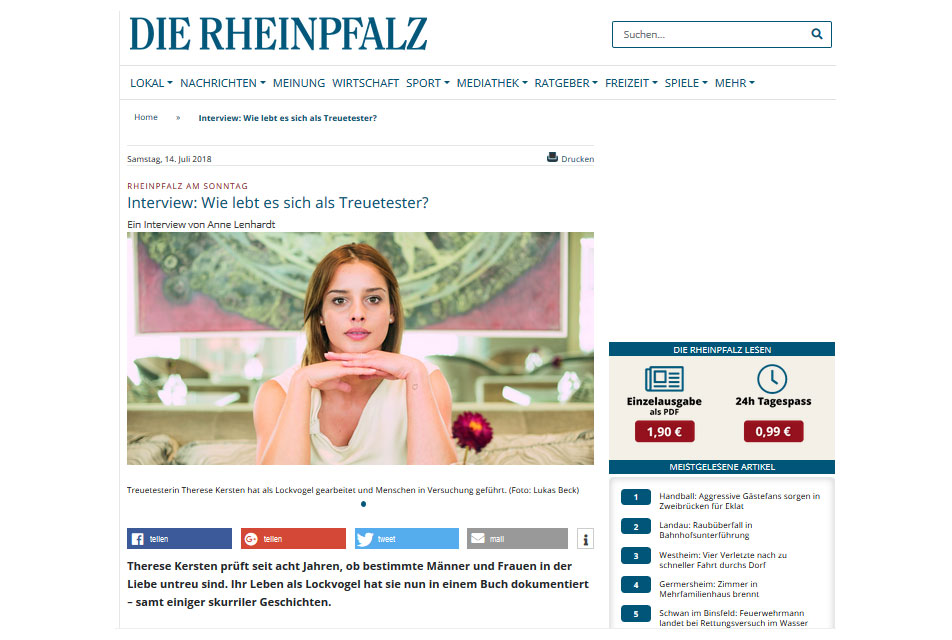 Rheinpfalz am Sonntag 14.07.2018